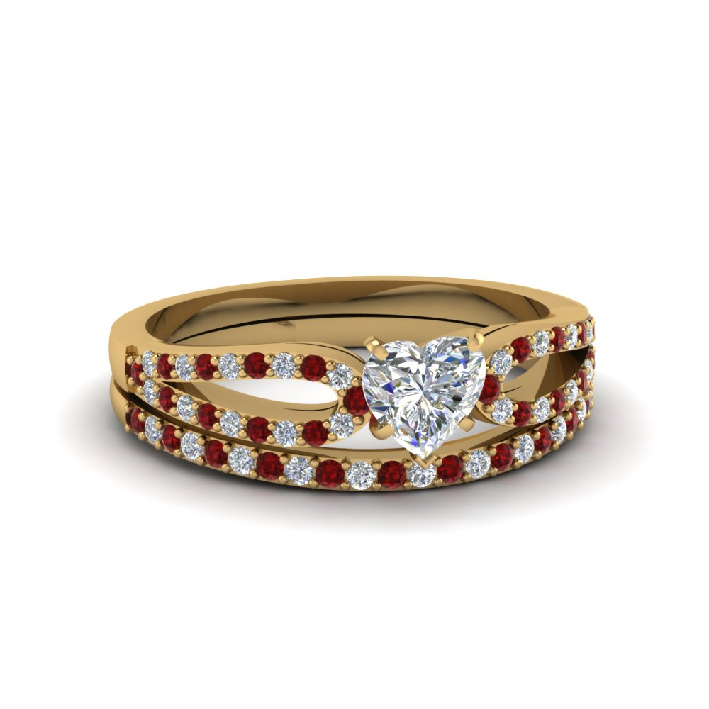 heart shaped loop diamond ring with ruby matching band in 14K yellow gold FDENS3323HTGRUDR NL YG
