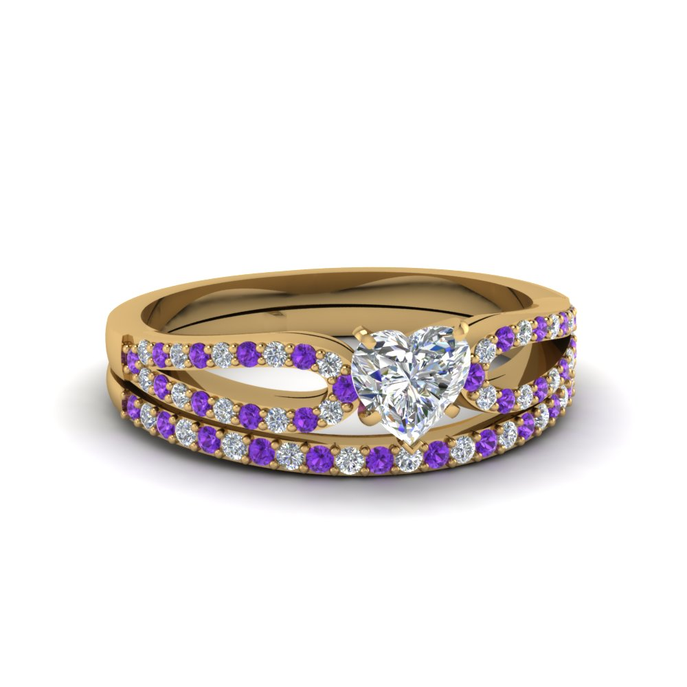 heart shaped loop diamond ring with violet topaz matching band in 18K yellow gold FDENS3323HTGVITO NL YG