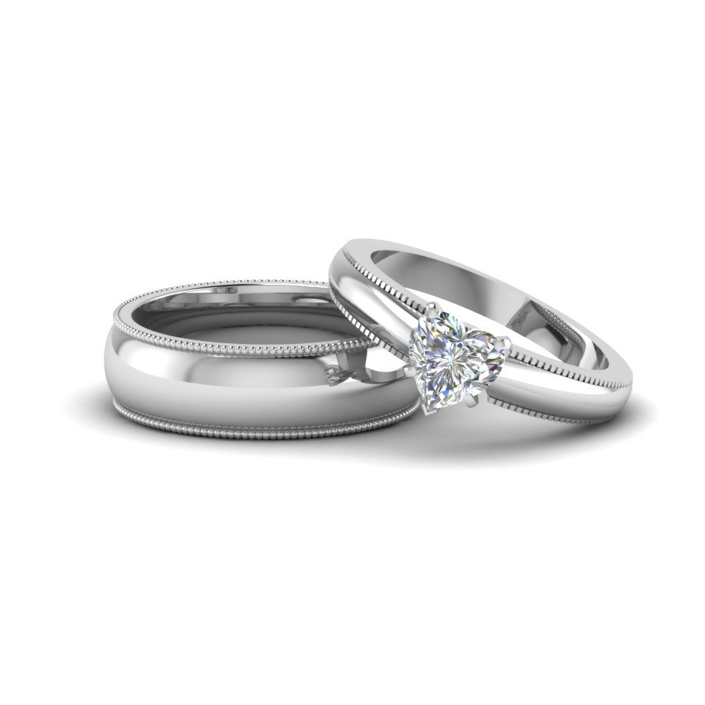 Heart  Matching Wedding Rings for Couples