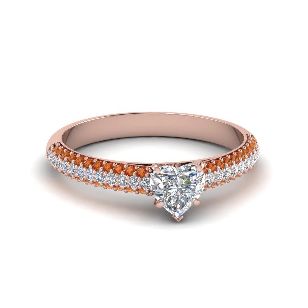 heart shaped micropave natural diamond engagement ring with orange sapphire in 14K rose gold FD8254HTRGSAOR NL RG