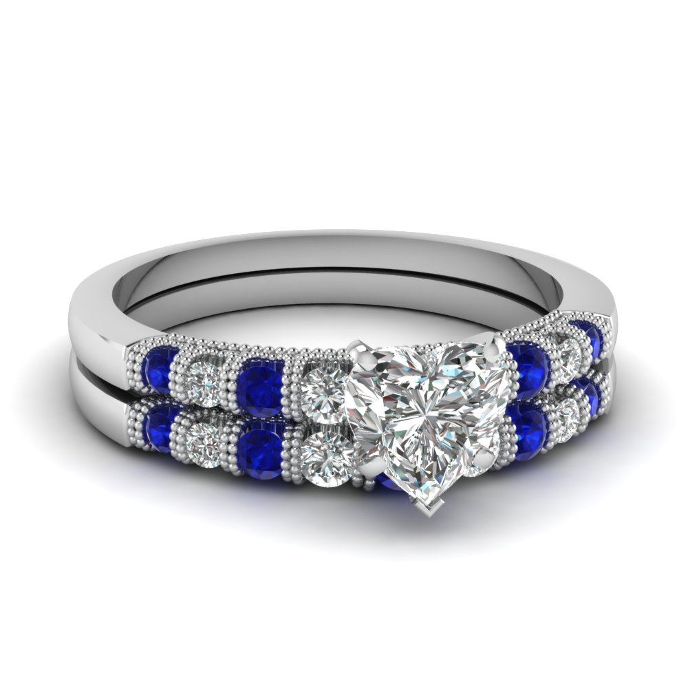 Sapphire Heart Diamond Wedding Set