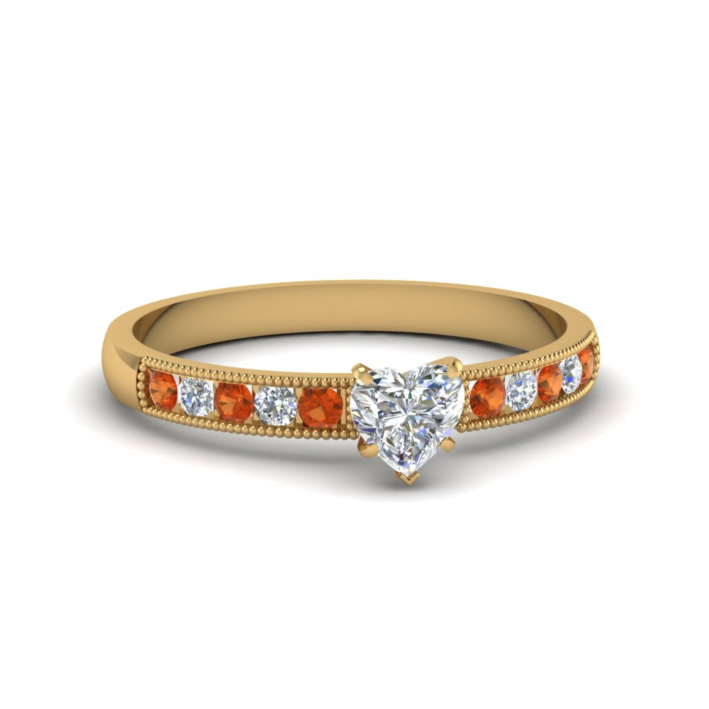 heart shaped milgrain design channel set diamond engagement ring with orange sapphire in 14K yellow gold FDENS3054HTRGSAOR NL YG