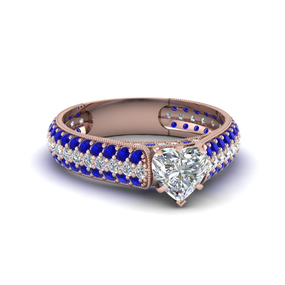 heart shaped milgrain multi row pave diamond engagement ring with sapphire in 14K rose gold FDENS1452HTRGSABL NL RG