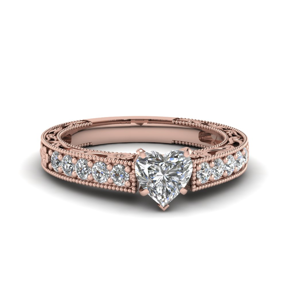 Rose Gold Heart Diamond Vintage Rings