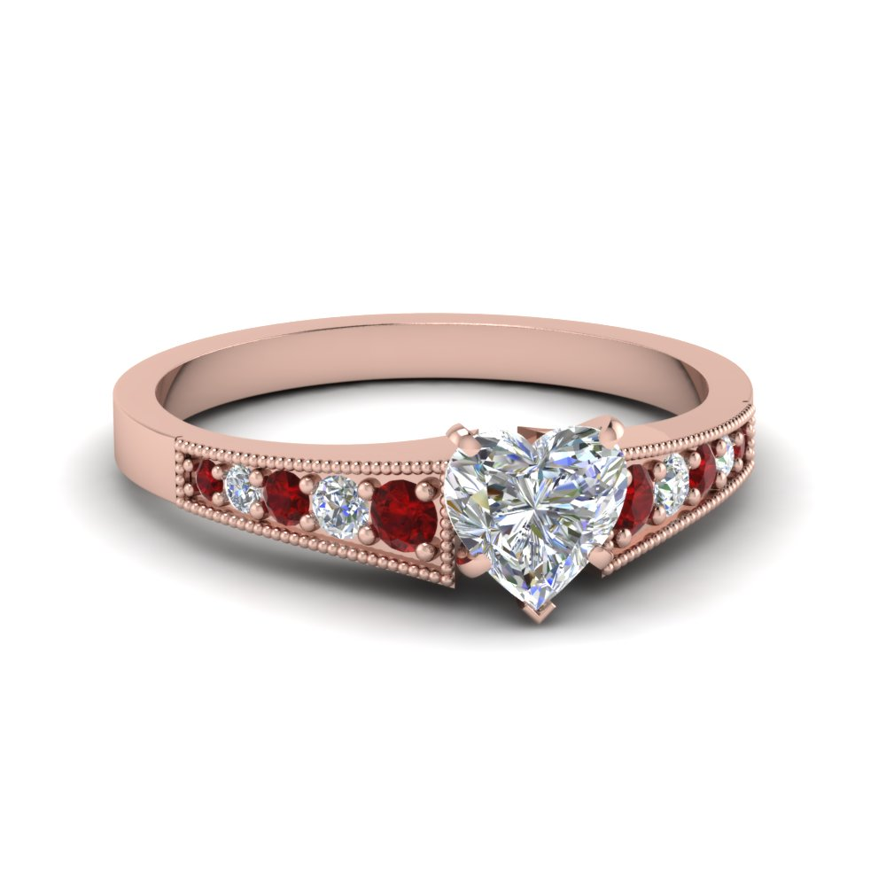 Milgrain Heart Diamond Ruby Ring