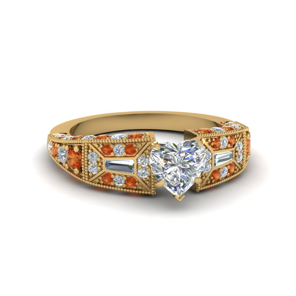 heart shaped victorian vintage style diamond engagement ring with orange sapphire in FDENR8601HTRGSAOR NL YG