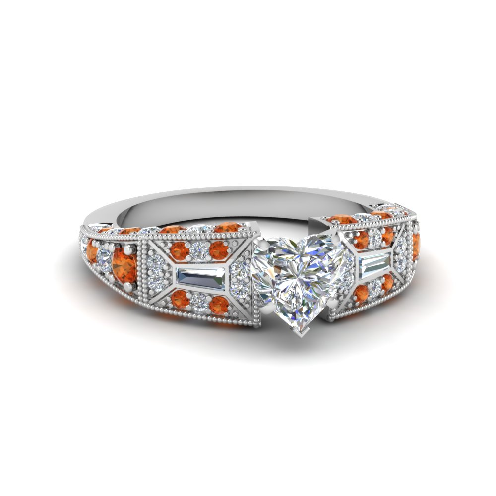 heart shaped victorian vintage style diamond engagement ring with orange sapphire in FDENR8601HTRGSAOR NL WG