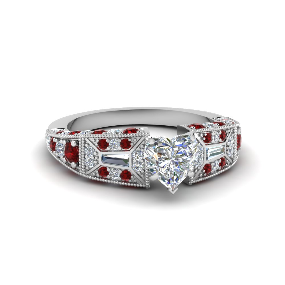 heart shaped victorian vintage style diamond engagement ring with ruby in FDENR8601HTRGRUDR NL WG