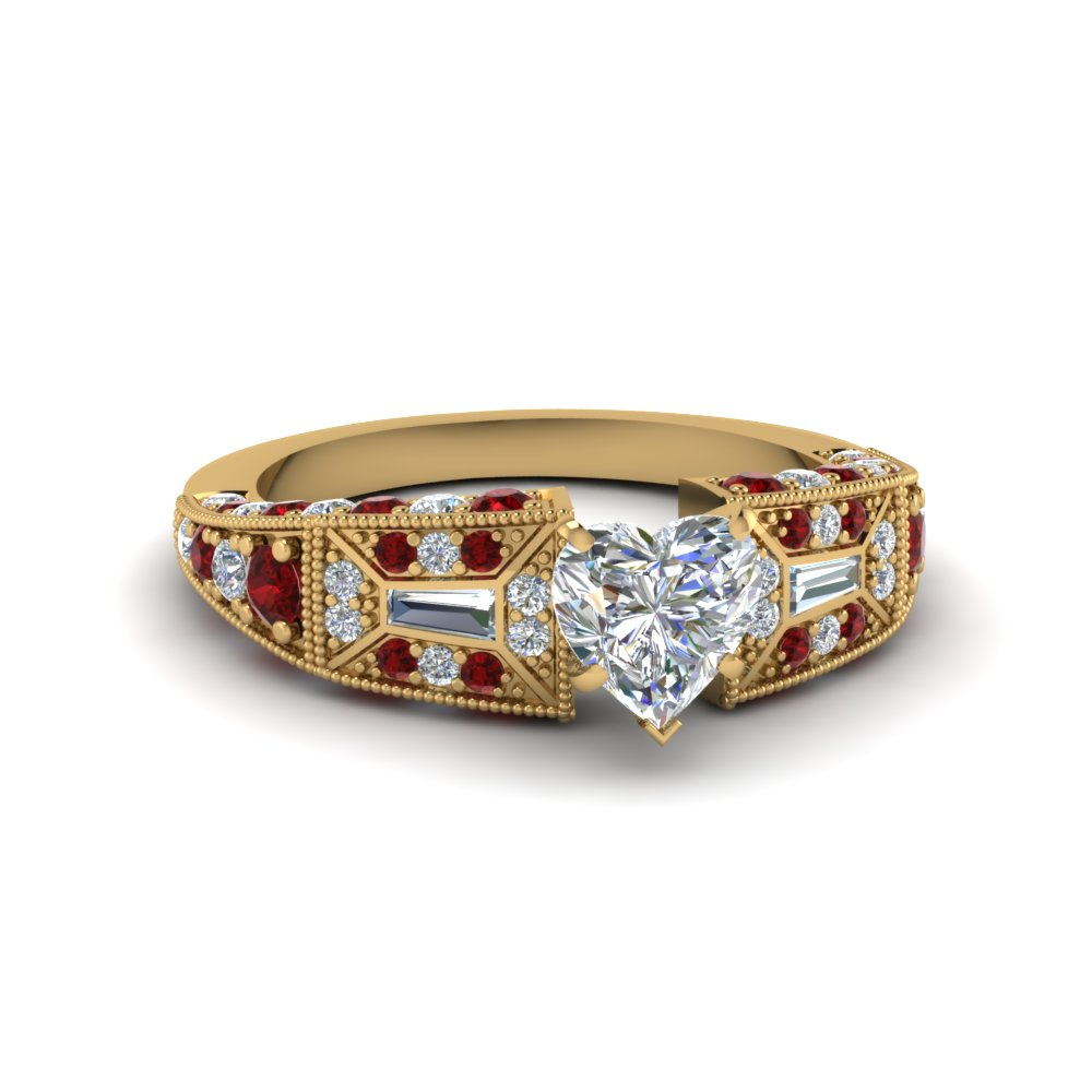 heart shaped victorian vintage style diamond engagement ring with ruby in FDENR8601HTRGRUDR NL YG