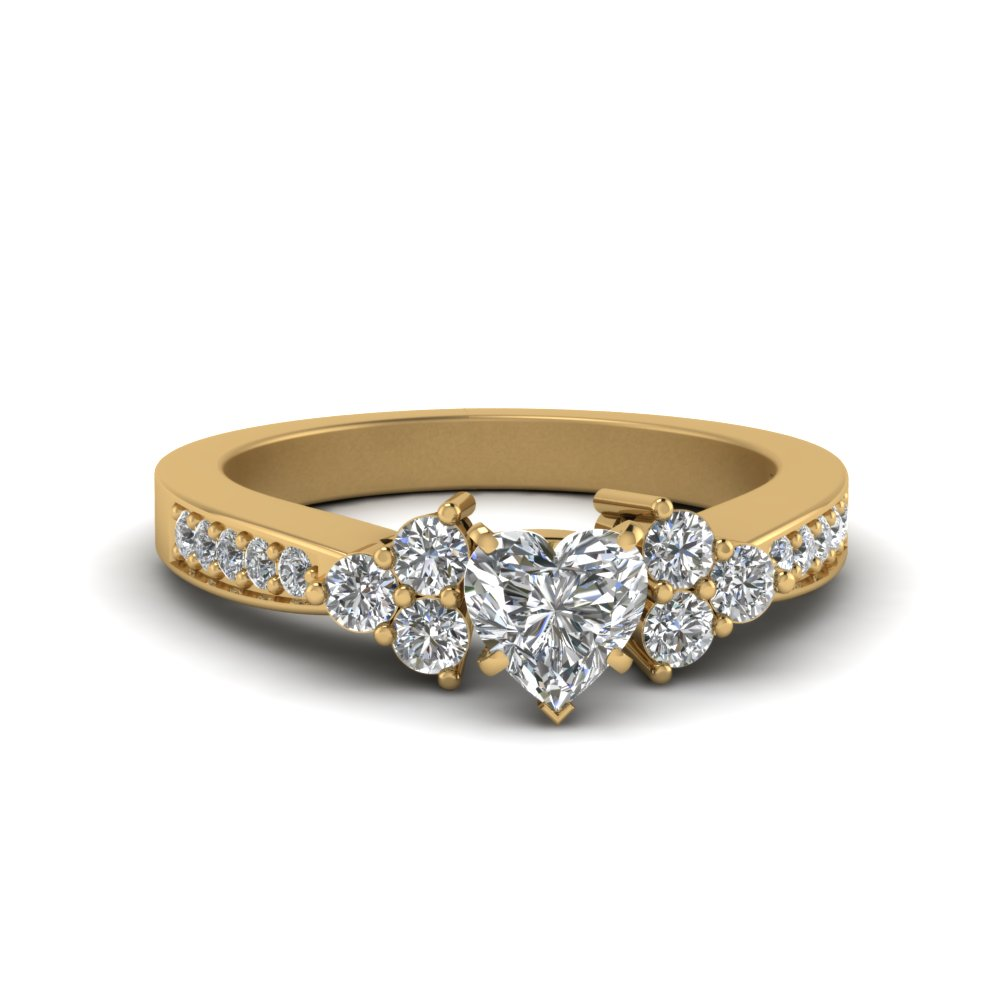 Pave Cluster Accent Diamond Ring