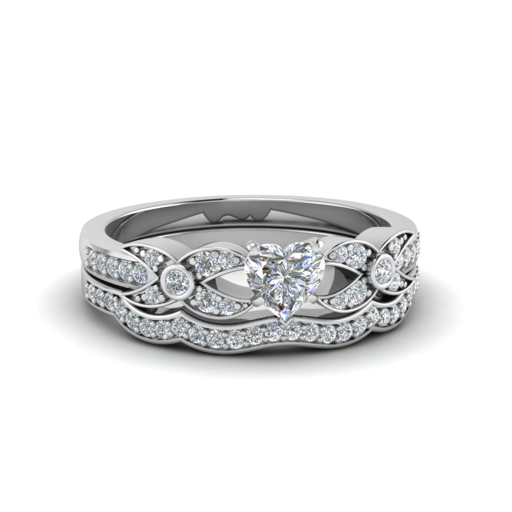 Heart Shaped Pave Diamond Accented Delicate Wedding Ring Set In FDENS3322HT NL WG