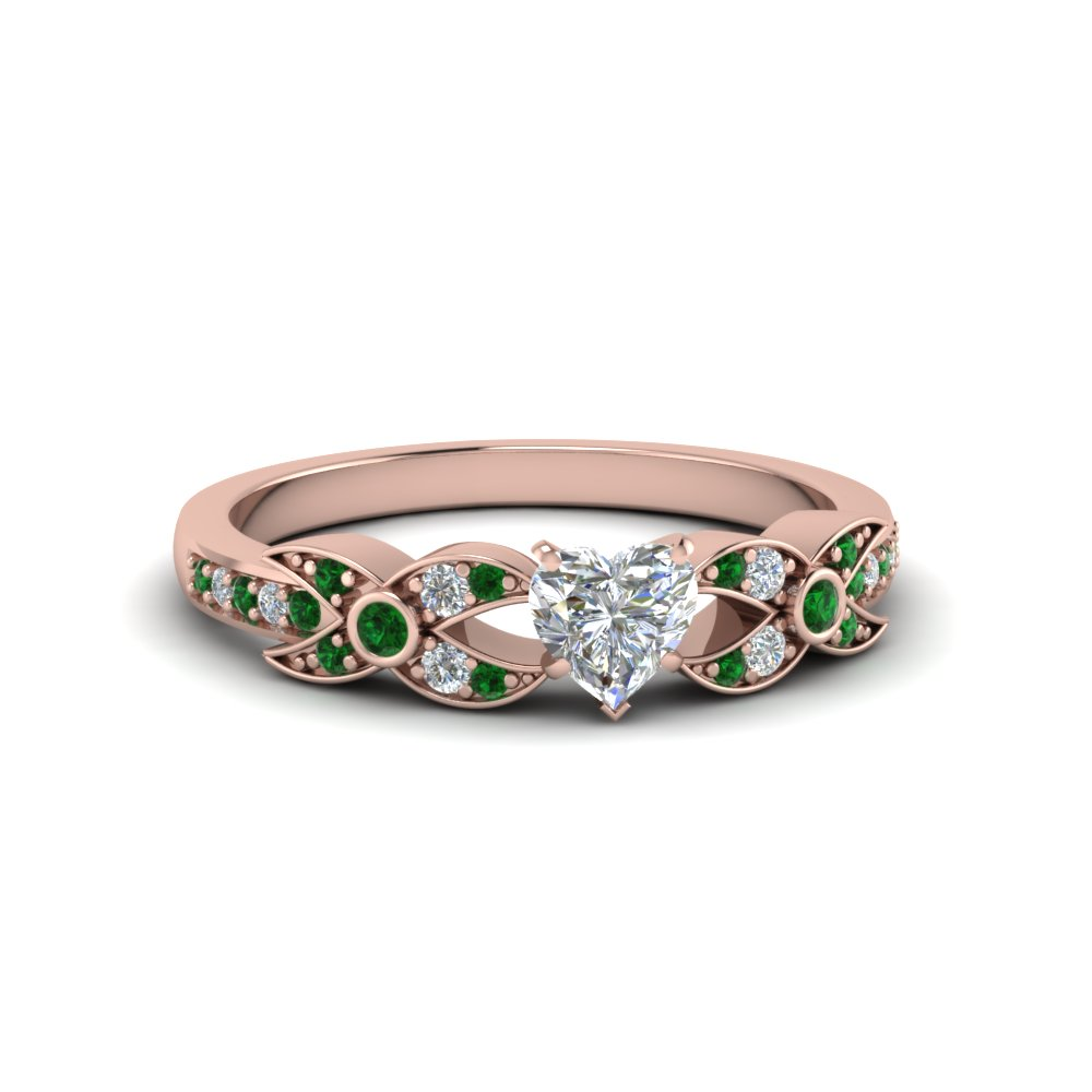 Rose Gold Emerald Petite Wedding Rings