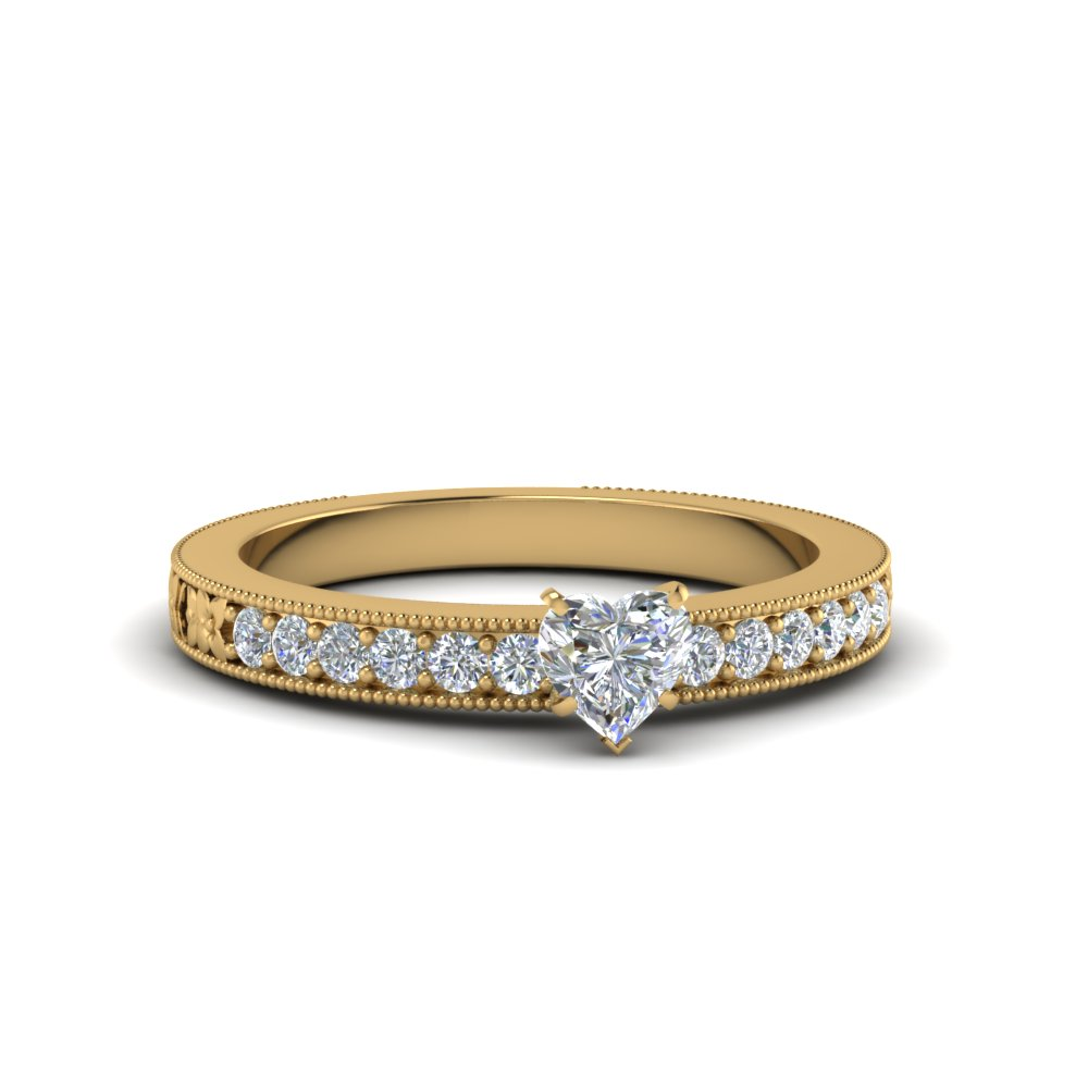 Heart Diamond Pave Milgrain Engagement Ring