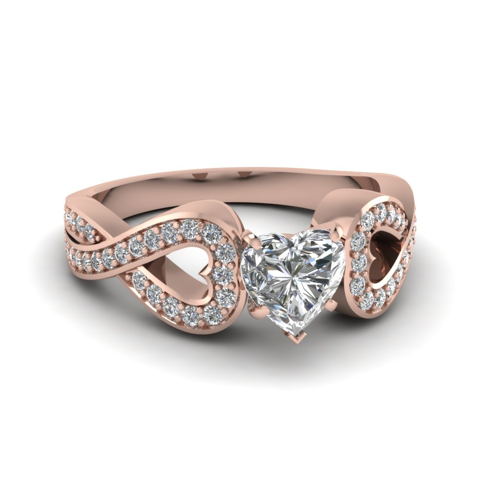 Entwined Heart Diamond Engagement Ring In 18k Rose Gold
