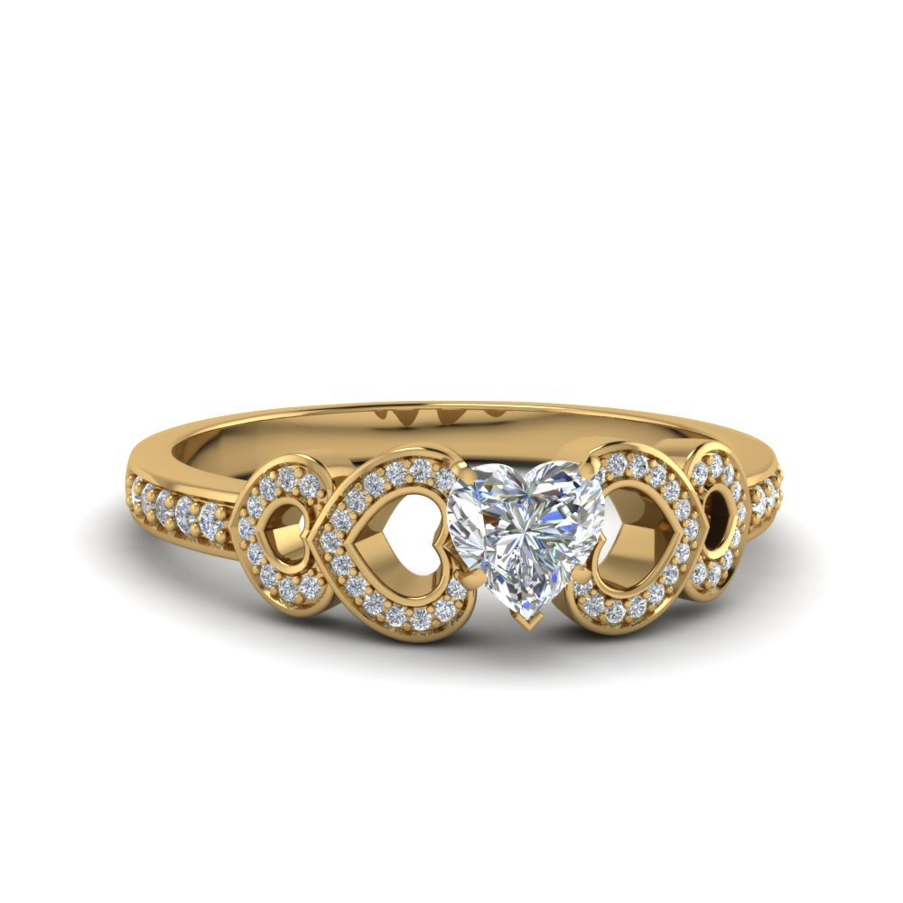 Heart Shaped Pave Diamond Engagement Ring In 14K Yellow Gold