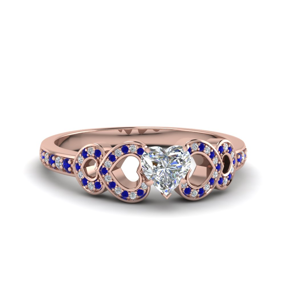 heart shaped pave heart design diamond ring with blue sapphire in FDENS3312HTRGSABL NL RG