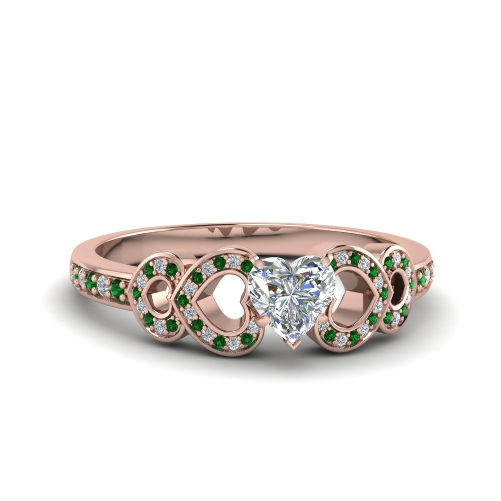 heart shaped pave heart design diamond ring with emerald in FDENS3312HTRGEMGR NL RG