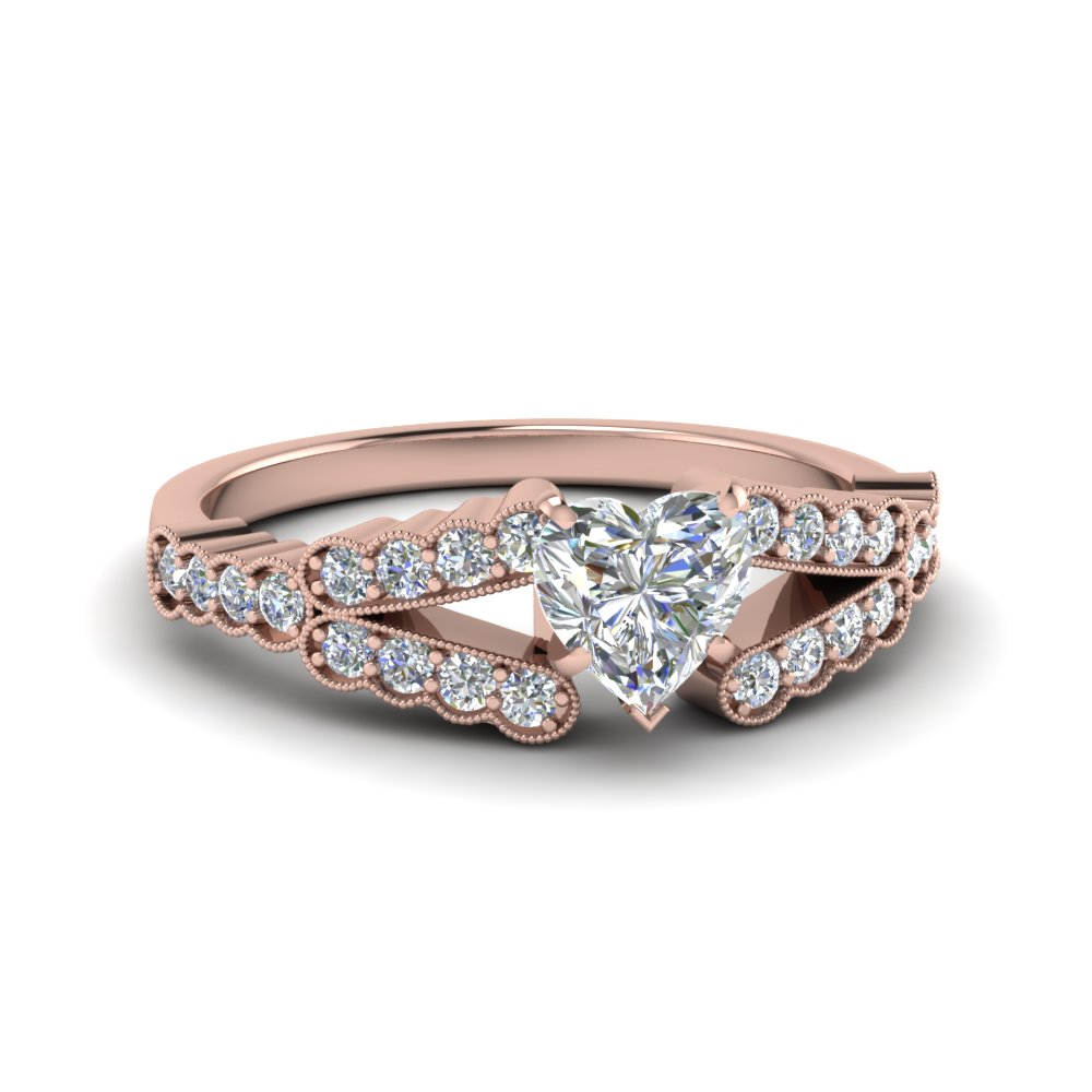 Rose Gold Heart Shaped Milgrain Engagement Rings