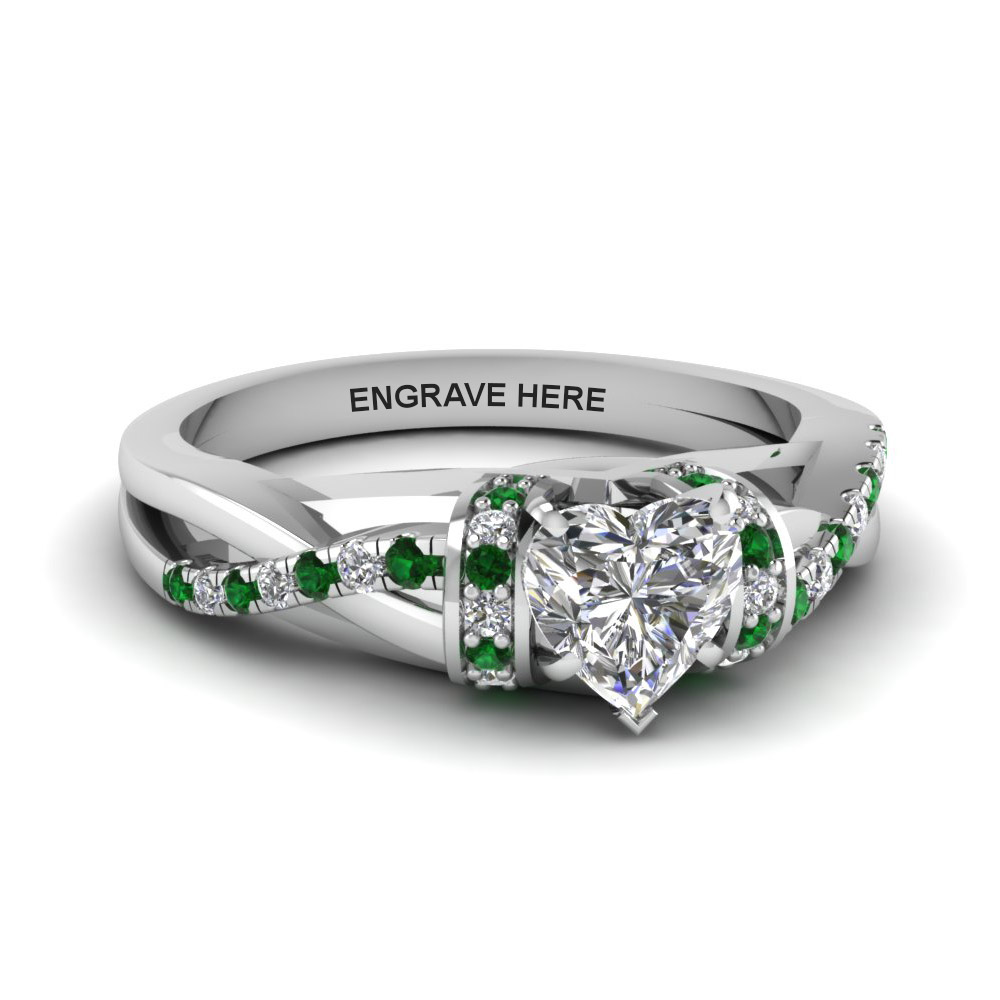 French Pave Heart Diamond Emerald Ring