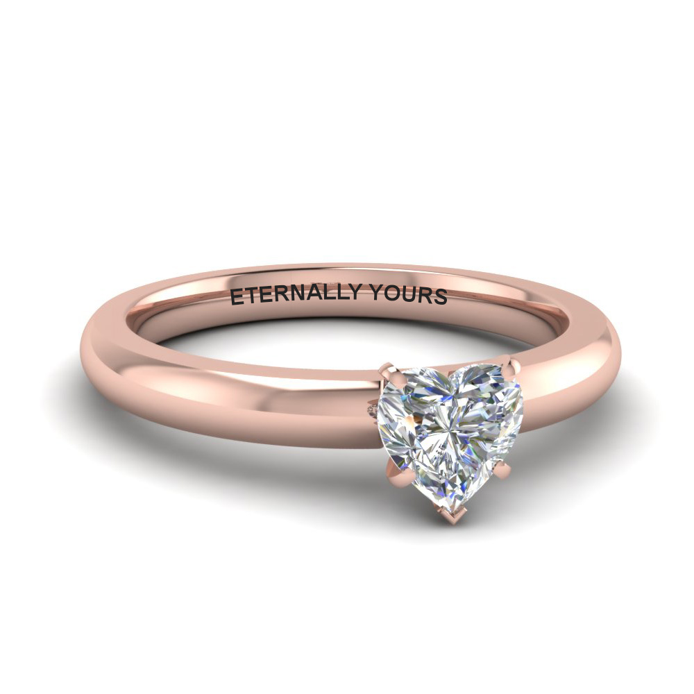 Rose Gold Heart Diamond Solitaire Rings