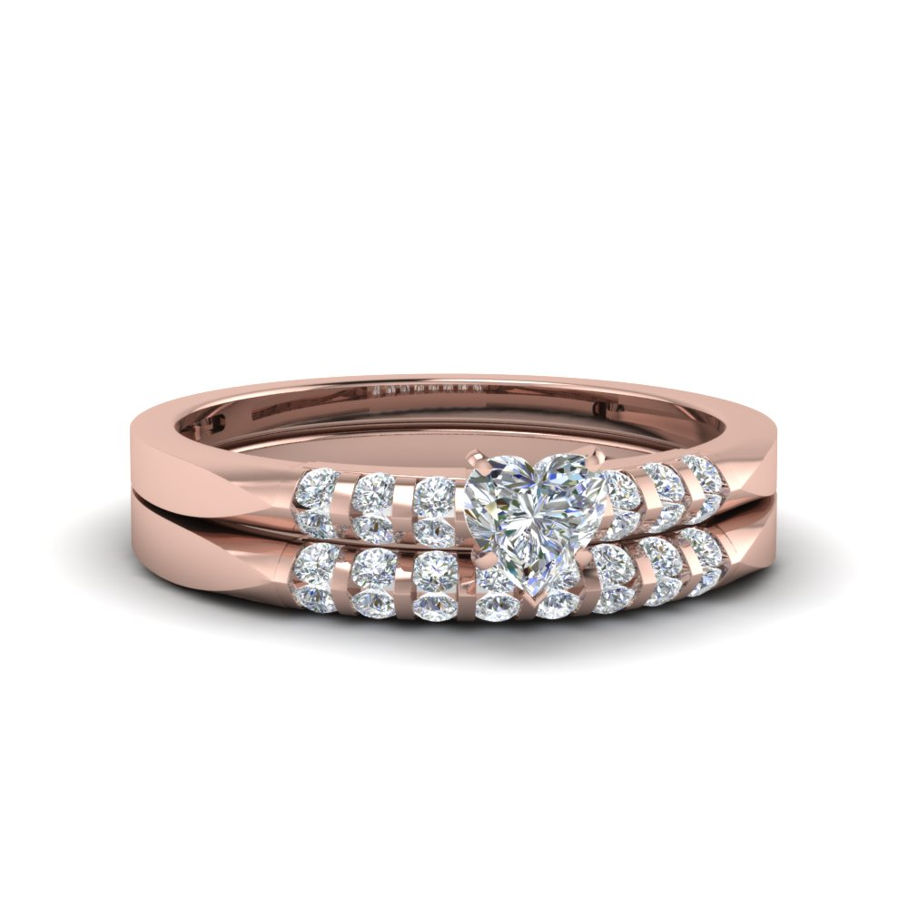 heart shaped petite channel diamond wedding ring set in 14K rose gold FDENS3115HT NL RG