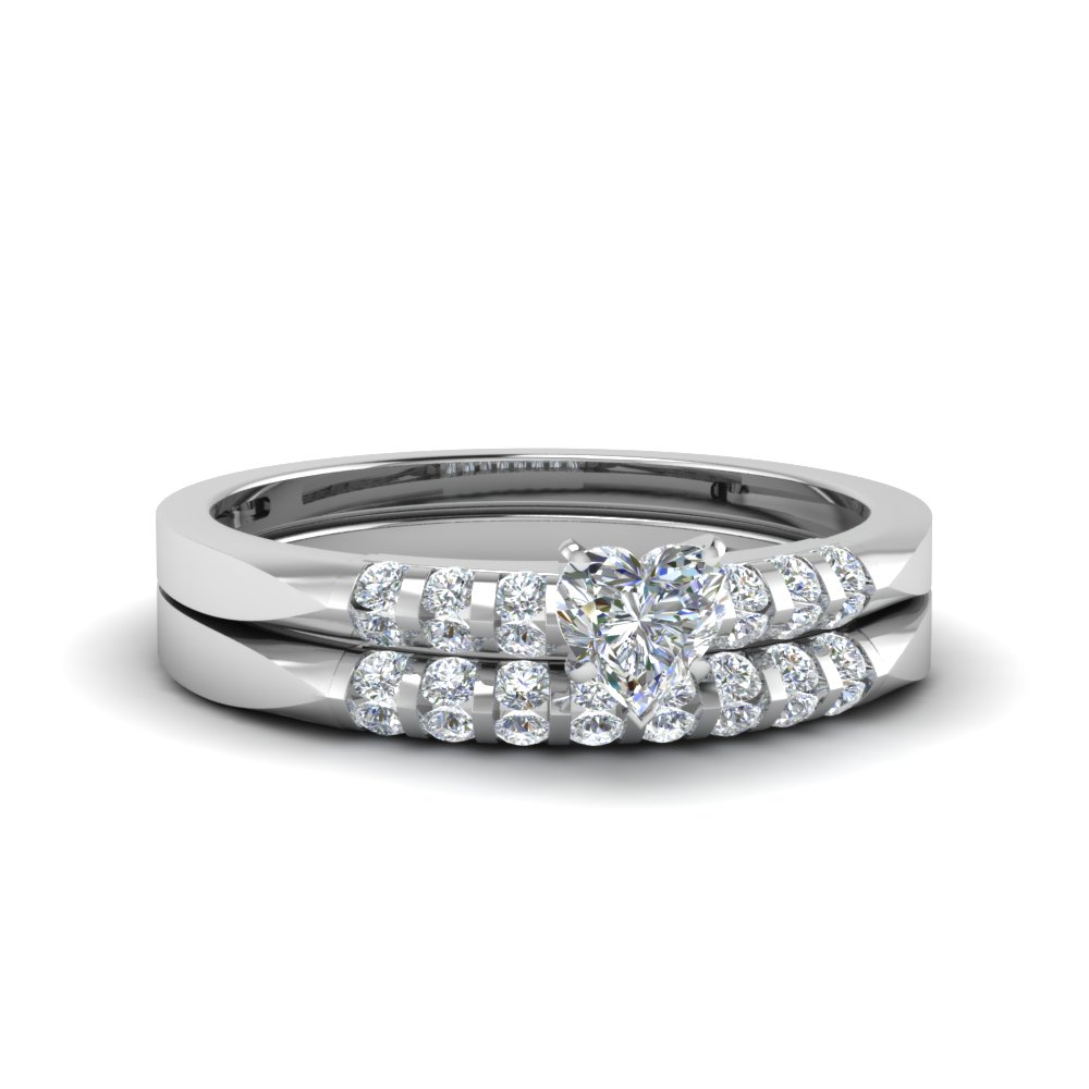 Channel Bar Diamond Wedding Set