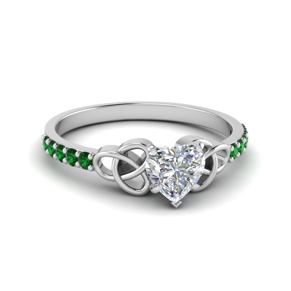 petite celtic heart shaped engagement ring with emerald in FD8061HTRGEMGR NL WG