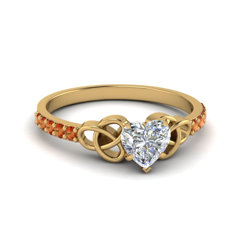 petite celtic heart shaped engagement ring with orange sapphire in FD8061HTRGSAOR NL YG