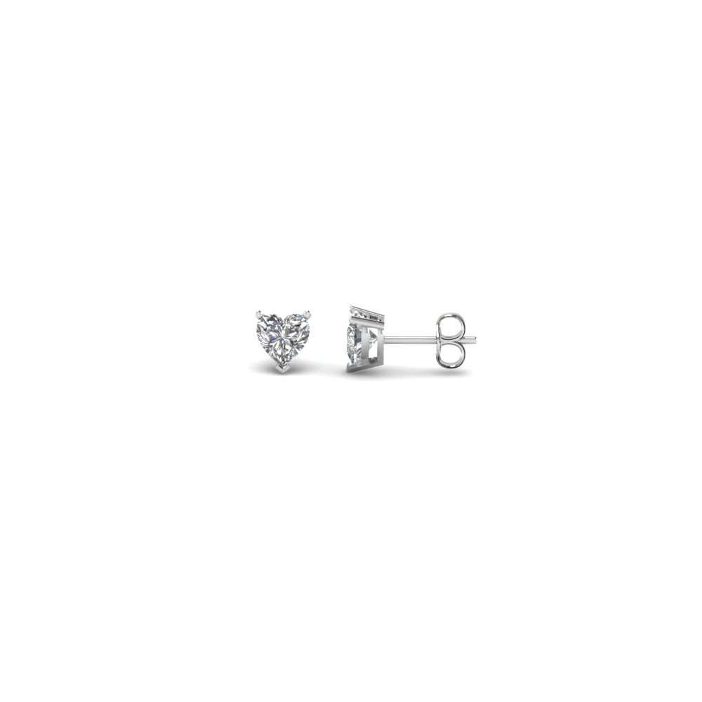 Heart Shaped Quarter Carat Diamond Earrings In 14k White Gold Fdear3ht0 12ct Nl Wg