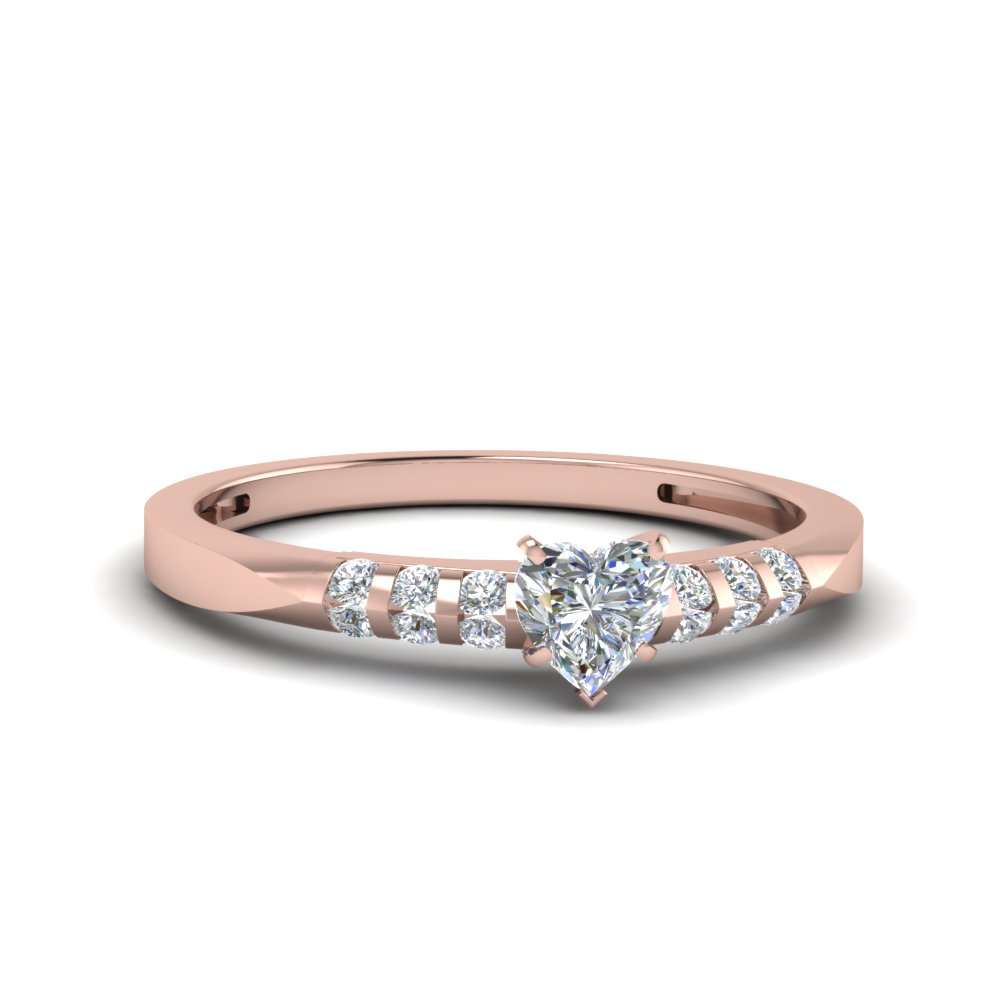 Bar Set Heart Diamond Ring