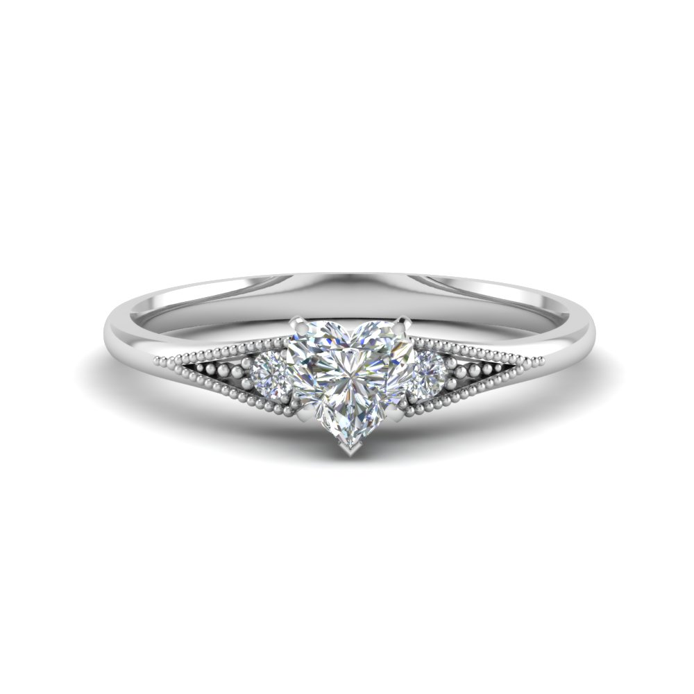 heart shaped small 3 stone diamond milgrain engagement ring in FD8073HTR NL WG