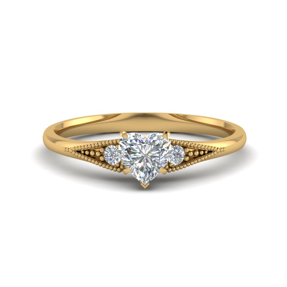 heart shaped small accents 3 stone diamond pave milgrain engagement ring in 14K yellow gold FD8073HTR NL YG