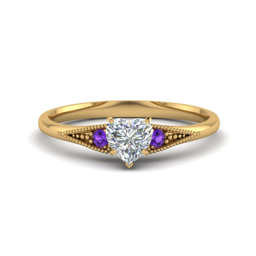 Heart Shaped Purple Topaz 3 Stone Engagement Rings