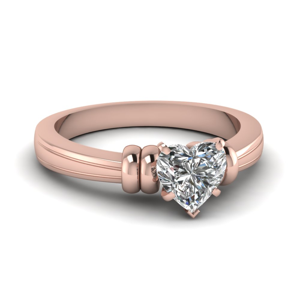 heart shaped solitaire diamond engagement ring in 14K rose gold FDENR2526HTR NL RG