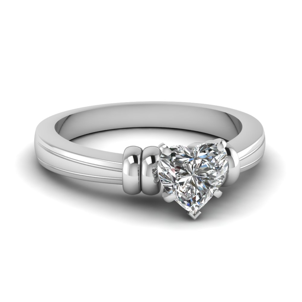 heart shaped solitaire moissanite engagement ring in 14K white gold FDENR2526HTR NL WG