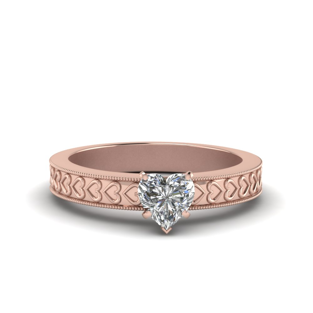 Heart Shaped Diamond Solitaire Antique Ring