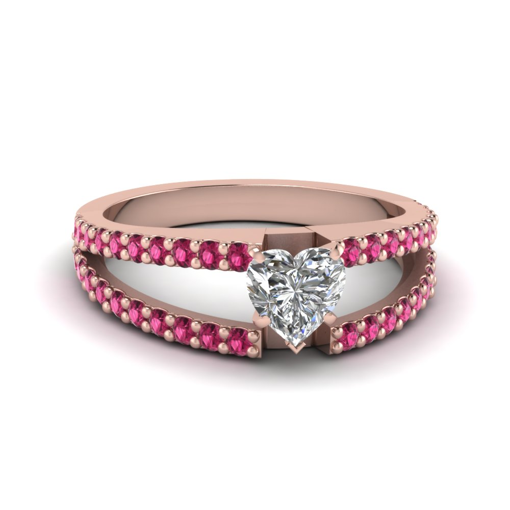 Heart Shaped Split Band Gemstone With Diamond Engagement Ring With Pink Sapph