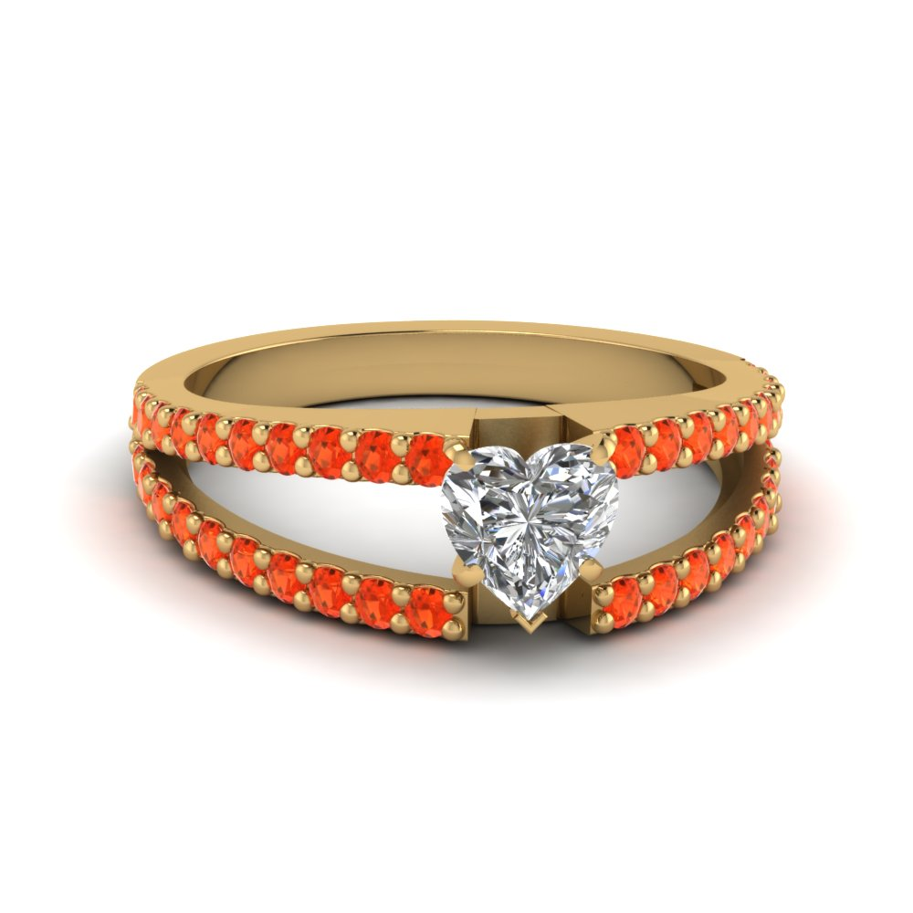 heart shaped split band gemstone with diamond engagement ring with poppy topaz in FDENR8335HTRGPOTO NL YG GS