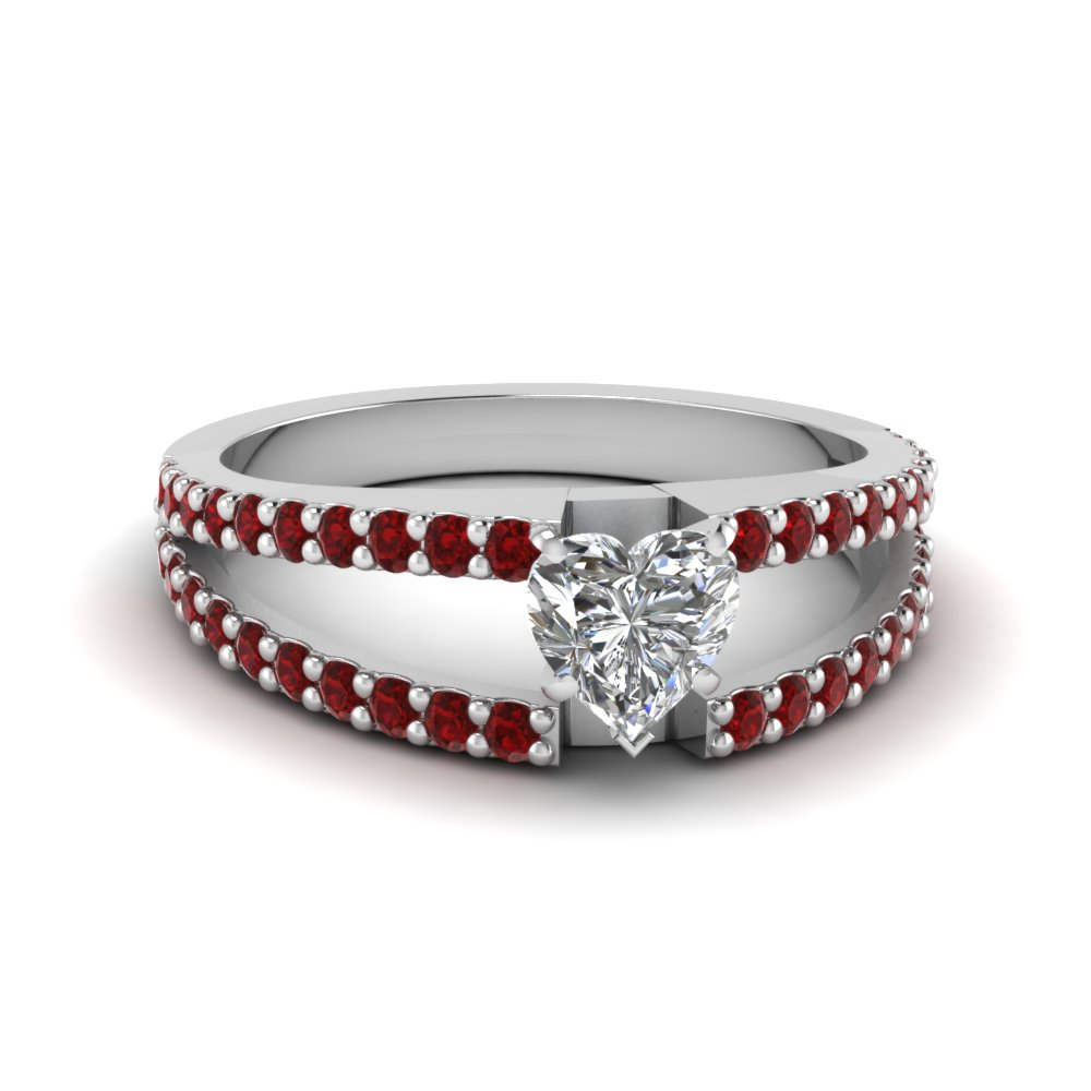 Platinum Diamond And Ruby Engagement Ring