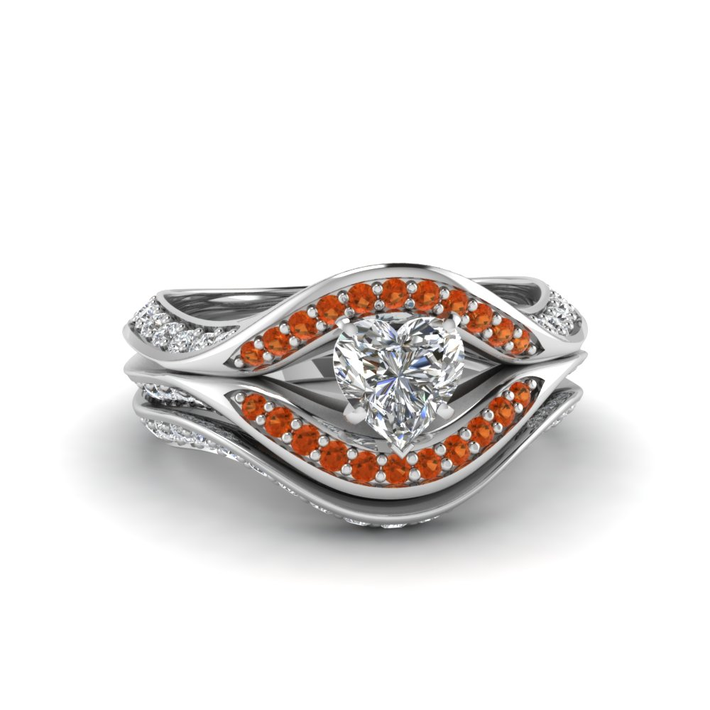 heart shaped split crossover halo diamond wedding set with orange sapphire in FDENS3165HTGSAOR NL WG