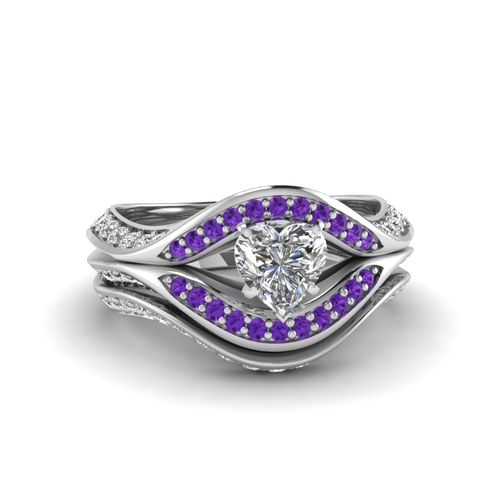 cheap heart wedding engagement promise for purple shaped sets inspirational ring her rings beautiful amethyst