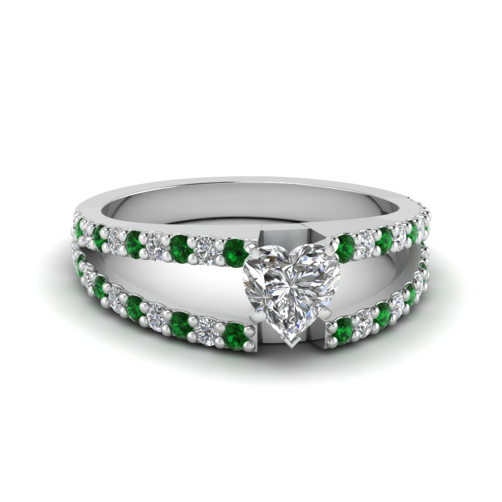 Heart Split Ring With Emerald