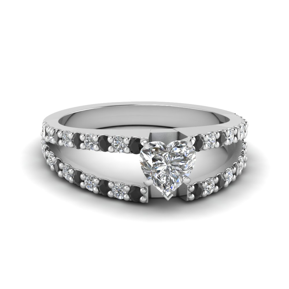heart shaped split double band engagement ring with black diamond in FDENR8335HTRGBLACK NL WG