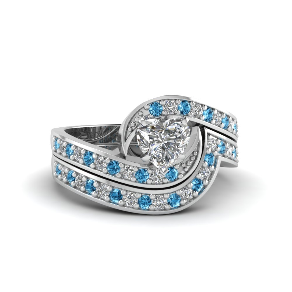 Heart Shaped Swirl Pave Diamond Wedding Ring Sets With Ice Blue ...