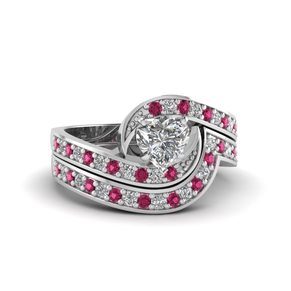 Heart Shaped Swirl Pave Diamond Wedding Ring Set With Pink