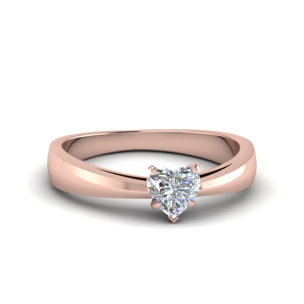 tapered heart shaped solitaire engagement ring in 14k rose. Black Bedroom Furniture Sets. Home Design Ideas