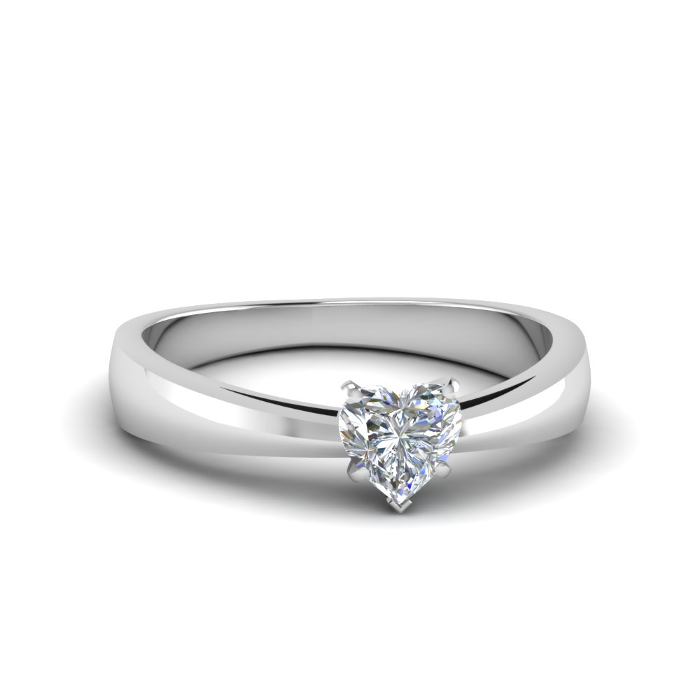 Tapered Heart Cut Solitaire Ring