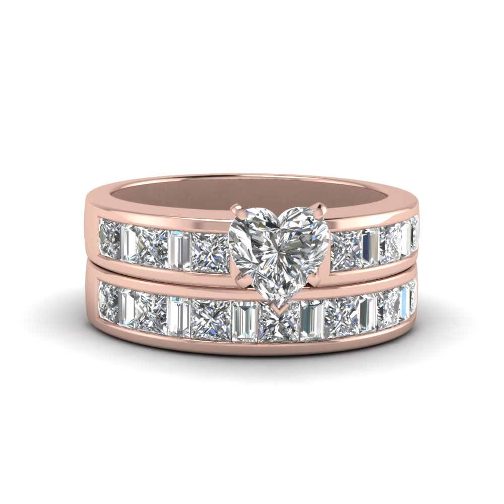 thick band diamond with baguette wedding set heart shaped diamond wedding ring sets with white diamond in 14k rose gold - Heart Wedding Ring Set