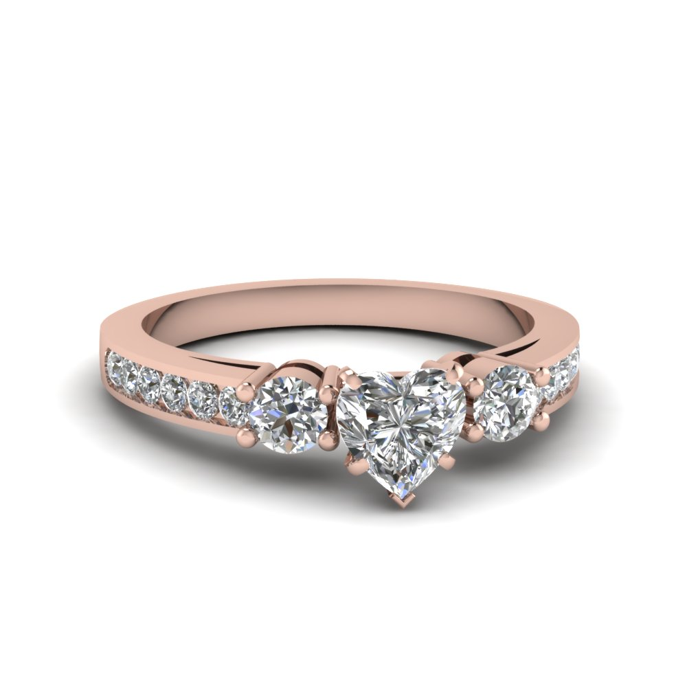 Heart Shaped Side Stone Engagement Ring