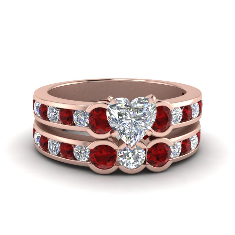3 Stone Ruby Wedding Set